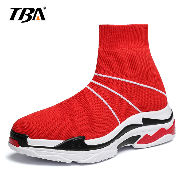 TBA Fly Weaving Men Casual Shoes Colorful Slip On High Top Sock Shoes Lightweight Men Sneakers Sapato Masculino