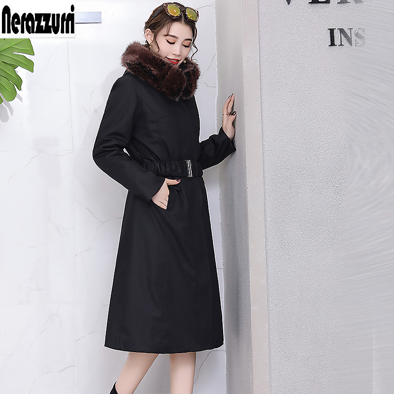 Nerazzurri Warm faux fur parka women 2019 winter faux fur overcoat with fur thicken hooded plus