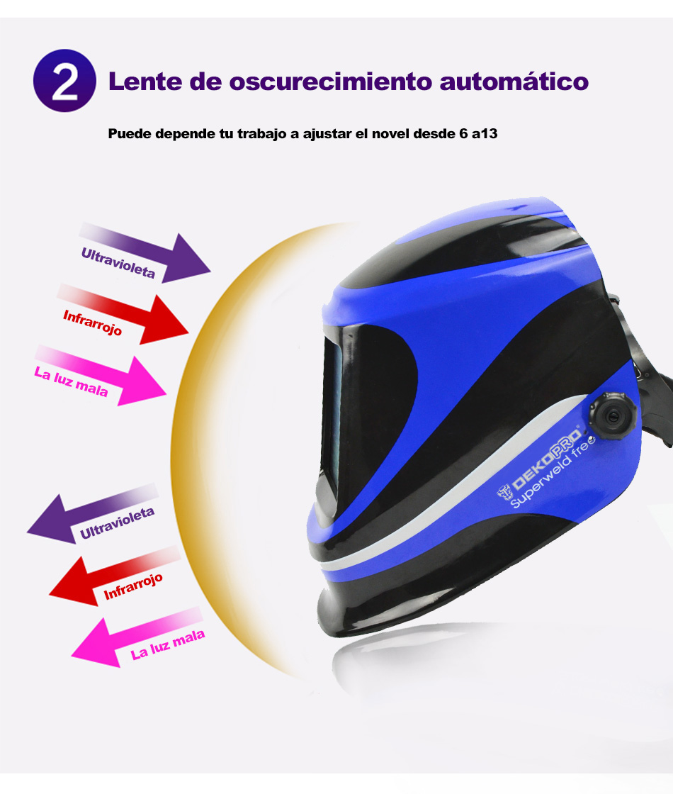 Mascara de soldar blue con oscurecimiento automatico