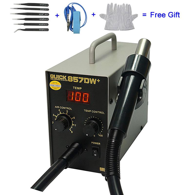 QUICK 857DW+ Adjustable Hot Air Gun Soldering Station Heater Helical Wind Air Gun SMD Rework Station
