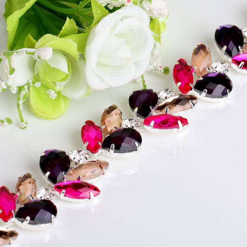 웨딩 드레스에 대한 신부 스톤 Strass 라인 석 트림 체인 Applique DIY Craft