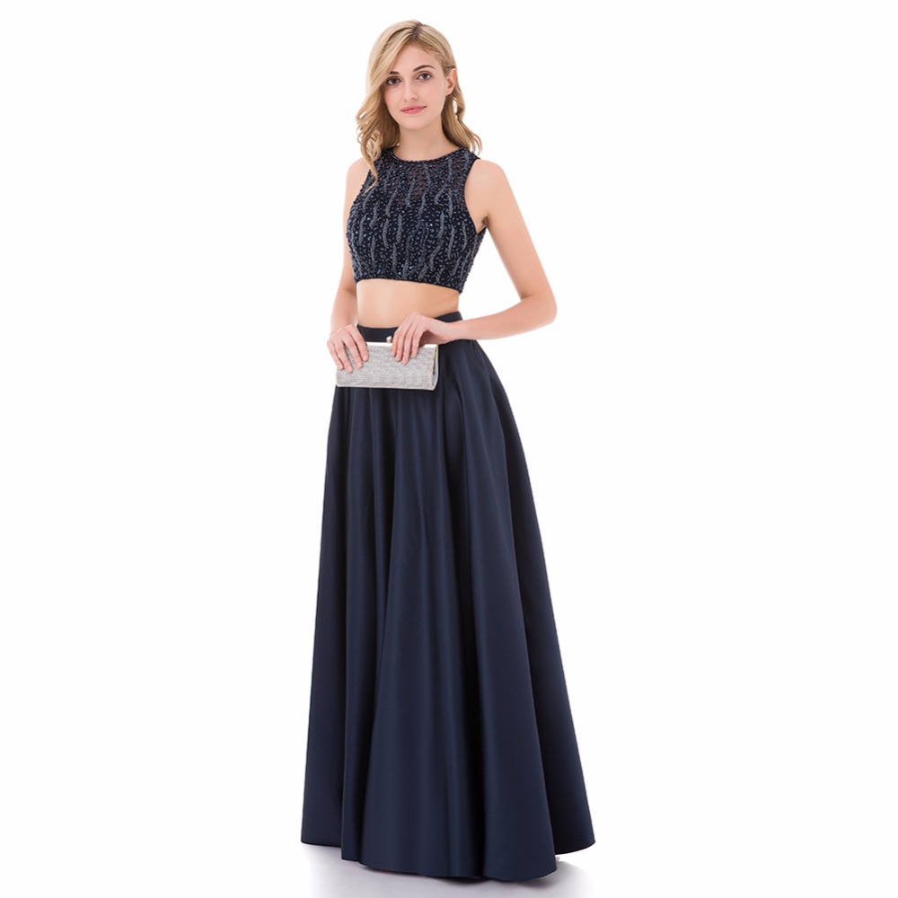 Baijinbai Robe De Soiree Luxury Blue Evening Dresses 2019 New Arrival 2 Pieces A Line Puffy Beaded Long Prom Party Dresses 765