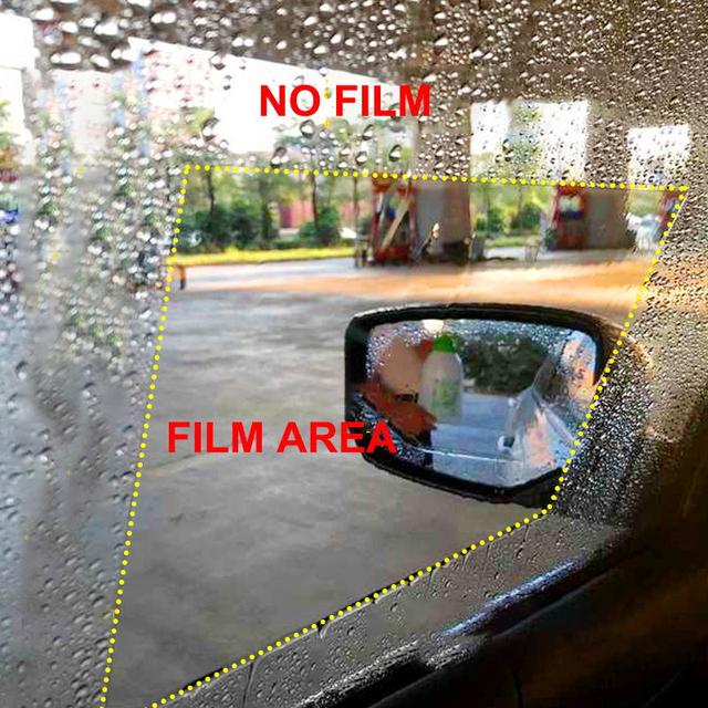 2PCS/Set Car Waterproof Anti Fog Side Window Film Rearview Mirror Protective Film Rainproof Anti-Glare Car Sticker