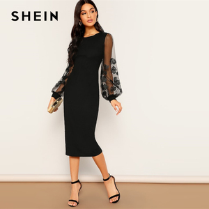 Image 3 - SHEIN Black Embroidery Mesh Insert Stretchy Bishop Sleeve Fitted Knee Length Bodycon Dress Women 2019 Spring Sheath Dresses