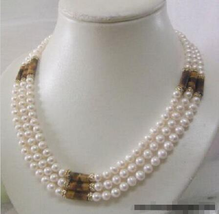 FREE SHIPPING>>>@@ > Hot sale new Style >>>>>3 Rows Real White Pearl Tigereye Opal 18KGP Crystal Necklace