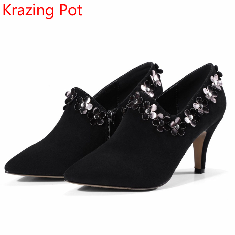 2018 Sheep Suede Glitter Pointed Toe Flowers Women Brand Shoes High Heels Stiletto Slip on Woman Pumps Wedding Winter Shoes L06 цены онлайн