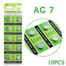 b3def4d8c 10 unids/pack AG7 pilas de botón celular moneda alcalina de la batería de  1,5 V GR927 395A para LR927 LR57 SR927W 399 reloj elec.