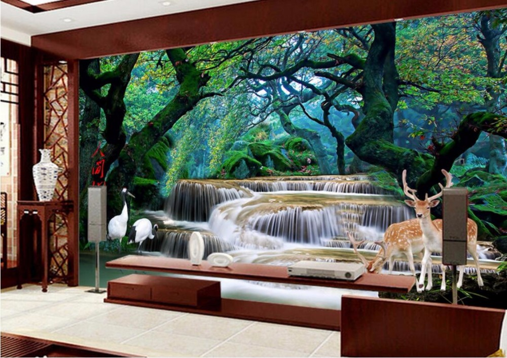 Custom photo 3d room wallpaper mural forest waterfall elk for 3d wall murals for bedrooms