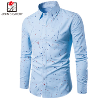 2017, Новая мода бренд Для мужчин рубашка платье с цветочным рисунком с длинными рукавами Slim Fit Camisa masculina Повседневное мужской Рубашки для маль...