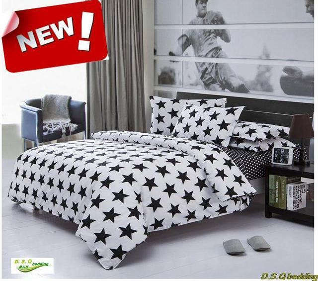 New Black White Star Kingqueenfull Size Singledouble Bedding Set