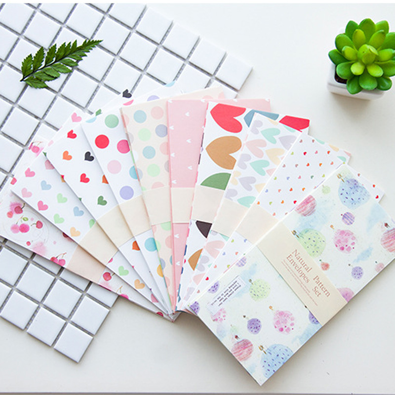 50pcs Craft DIY Envelope Dots Heart Flower Paper Gift Envelope For Card Letter Paper 10 Patterns Mix 18x9cm