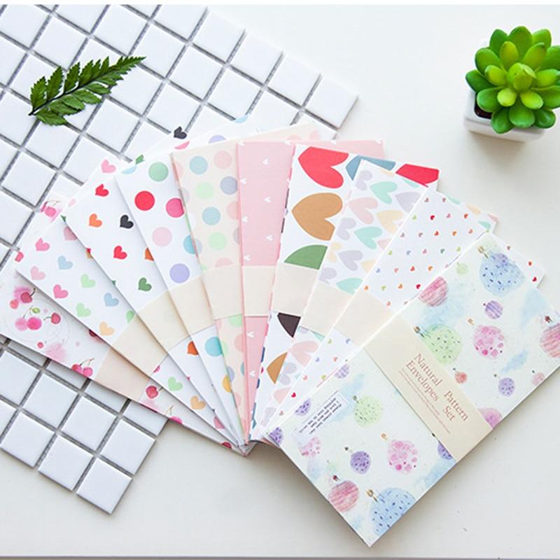 50pcs Craft DIY Envelope Dots Heart Flower Paper Gift Envelope For Card Letter Paper 10 Patterns Mix 18x9cm