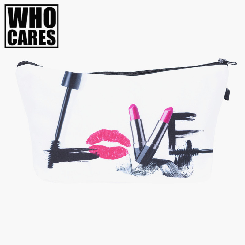 Love make up 3D Printing cosmetic bag 2017 who cares Fashion New makeup bag pencil bags for student women trousse de maquillage