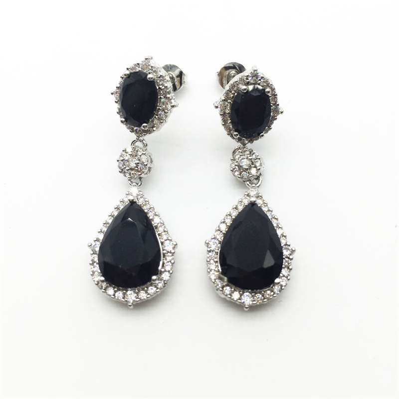 ᑐModa negro plata esterlina grande CZ Crystal largo Pendientes de ...