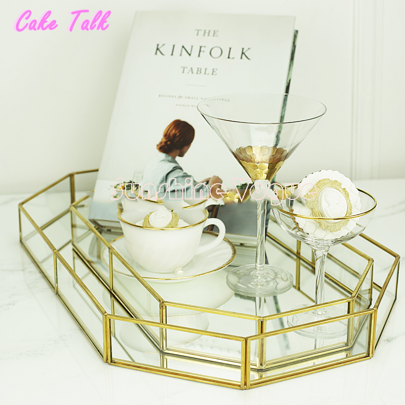 Vintage Glass Tray For Cupcake Jewelry Perfume Makeup Shampoo Wine Cake Decorating Tools Kitchen
