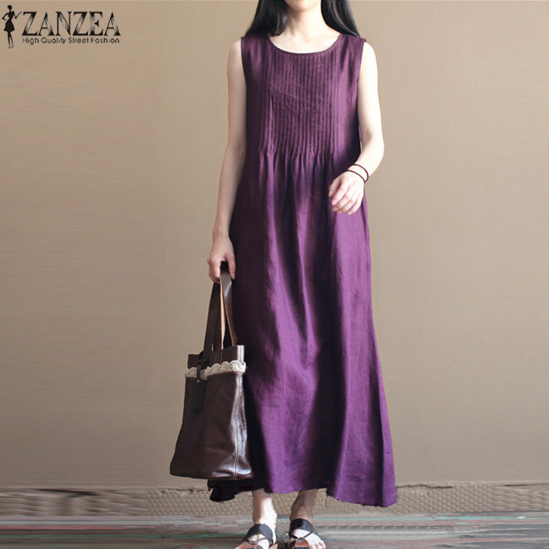 f333afe0c7392 O-Neck Sleeveless Cotton Linen Long Dress Loose Solid Plus Size
