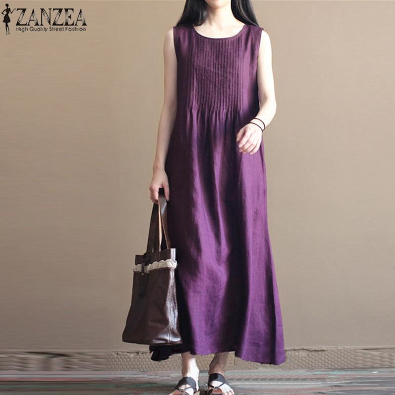 2018 ZANZEA Summer Dress Women Pleated O Neck Sleeveless Cotton Linen Beach Maxi Long Dress Loose Solid Party Vestidos Plus Size 1