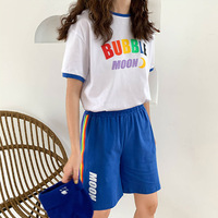 4 Color New Summer Tops Cute Rainbow Women Suit Letter Printed Short sleeved T Shirt + Shorts Casual Cotton Two piece Set Female