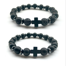 Fashion Glamour Mens Cross Elastic Bracelet Lava Rock 8mm Beads Hand-knitted Accessories and Ladies Jewelry