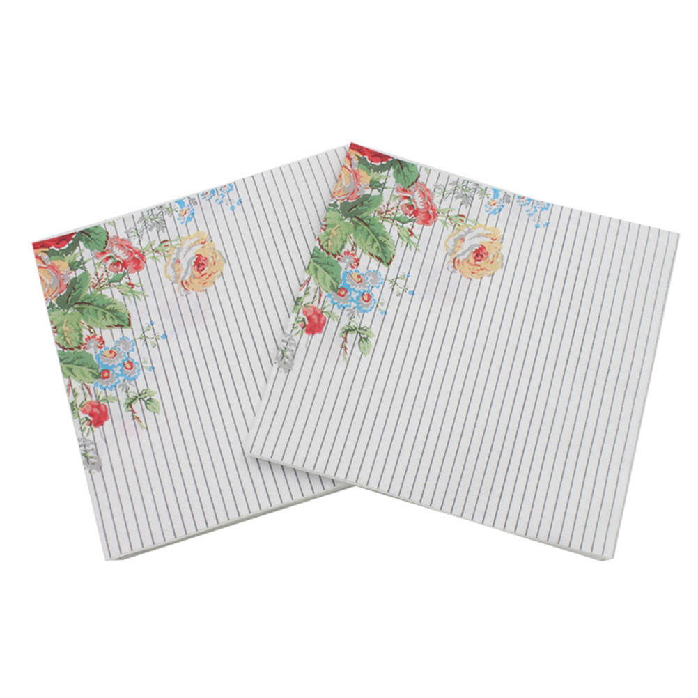 33*33cm 20pcs/pack/lot Rose Floral Paper Napkin Event & Party Supplies Decoration Tissue Decoupage Servilleta Wholesale