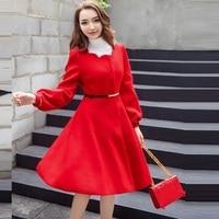 2017Fashion Ladies elegant beaded woolen coat winter pinched waist lantern sleeve wool trench coat outwear overcoat Plus size4XL