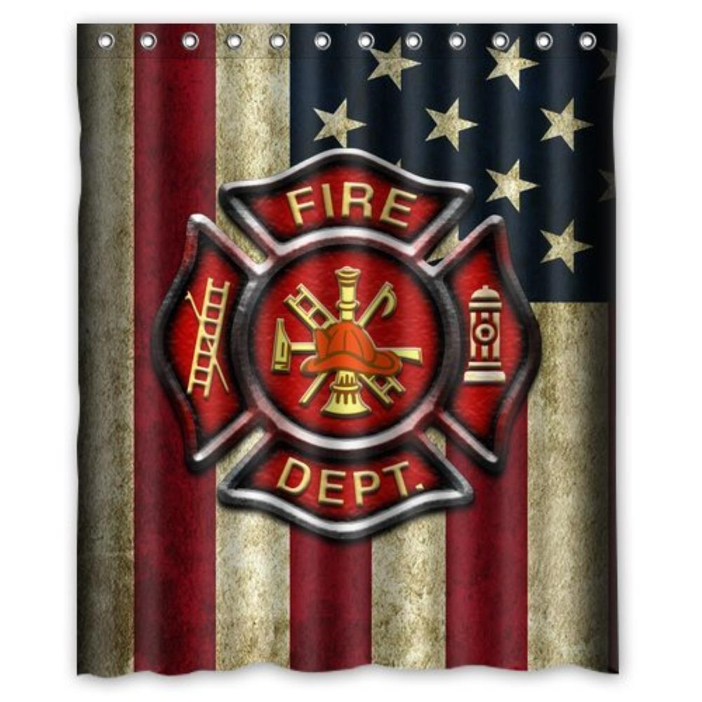 Firefighter Rescue Symbol Shower Curtain Customized Shower Curtain Waterproof Bathroom Fabric Shower Curtain For Bathroom