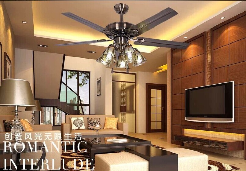 52 Inch Bronzen Chandelier Fan Home Decorative Lights Living Room Dining Chandeliers