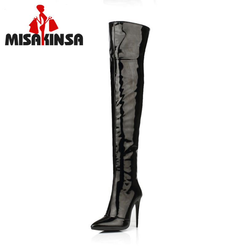 MISAKINSA Size 33-43 Botines Female Winter Boots Shoes Over Knee High Thigh Boots High Heel Suede Boots Botas Mujer Femininas