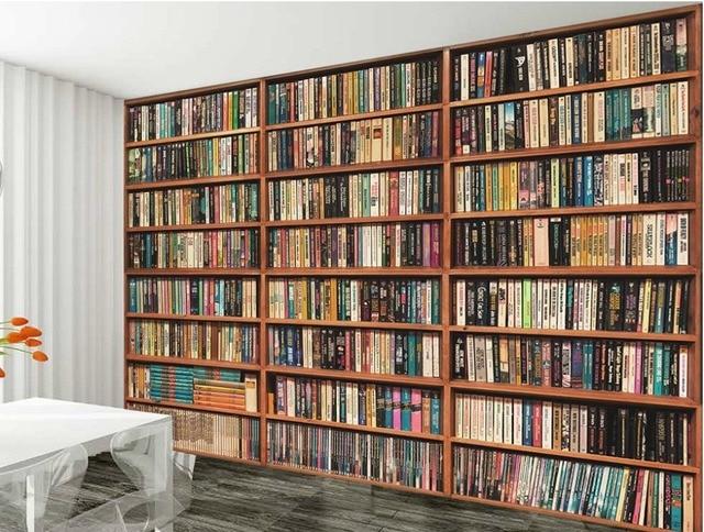 Non woven home decor wallpaper mural bookshelf book shelf 3D image ...