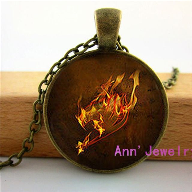 Fairy Tail Anime Guild Marks Fire Wing Pendant Necklace Jewelry