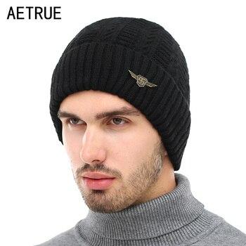 a22cbf270d802 AETRUE marca Skullies Gorros sombrero hombres mujeres invierno sombreros  para hombres Cap hombre caliente gruesa Gorros lana máscara Beanie sombrero  hecho ...