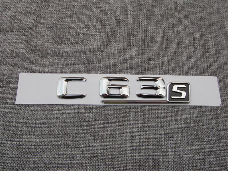 Chrome ABS C63s Plastic Car Trunk Rear Letters Badge Emblem Emblems Decal Sticker for Mercedes Benz C Class C63 S AMG in Emblems from Automobiles Motorcycles