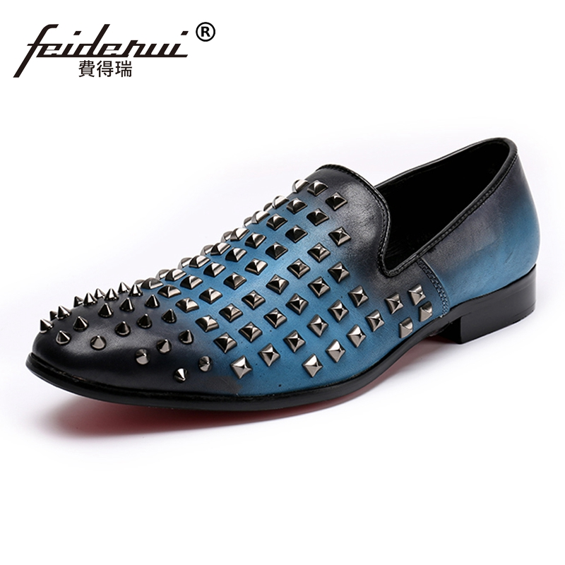 Plus Size New Round Toe Slip on Studded Man Moccasin Loafers Genuine Leather Men's Height Increasing Rocker Casual Shoes SL66 size 38 43 2016 new men fashion steel head genuine leather loafers lazy height increasing casual shoes mp10