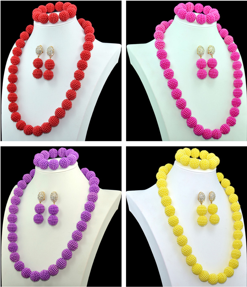 Amazing 8 Colors Imitation Pearl African Beads Jewelry Set Nigerian Beads Necklace Dubai Jewelry Sets 2016 New Free Shipping