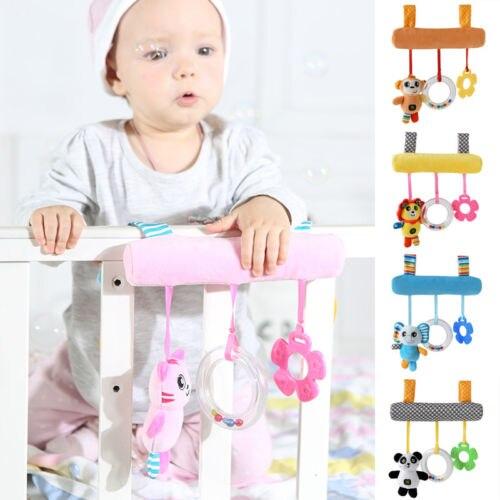 Cartoon Animal Baby Sound Hanging Car Bed Pendant Safety Seat Plush Kid Soft Toy  Mobile Stroller Toys Plush Playing Doll