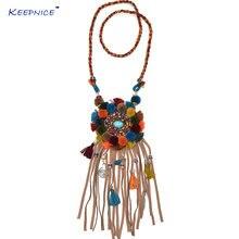 Новые богемные кожаные длинные ожерелья ручной работы с разноцветными