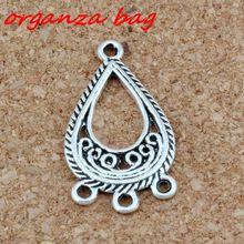 20pcs/ lots Antique Silver Open Filigree Flower Teardrop 3-Strand Spacer End Connector Fit Tassel Earrings 15x27mm Jewelry DIY