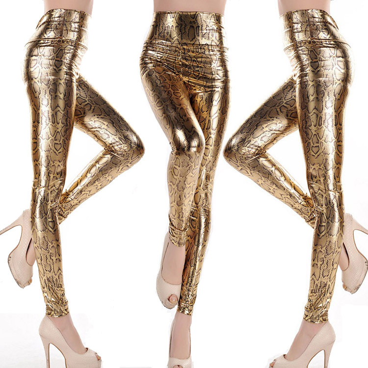 Free Shipping Gothic Women's High Waist Leggings Snake Shinny Faux Leather Pants Bronzing Leggings Drop Ship