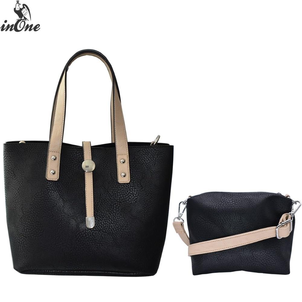 e7ed41a1f2f US $18.99 49% OFF|inOne Handbag Shoulder Bags For Women 2018 2 in 1 Purse  Tote Crossbody Luxury Handbags Women Customized Black Ladies Bags Set-in ...