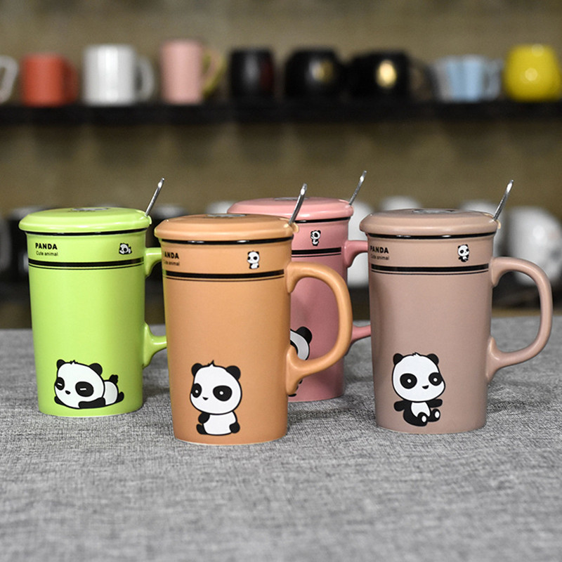 Cartoon Panda Ceramic Cup Creative Gift Water Bottle With Cover Spoon  Couple Mug Coffee Milk Mugs Tea Cup Outdoor Travel