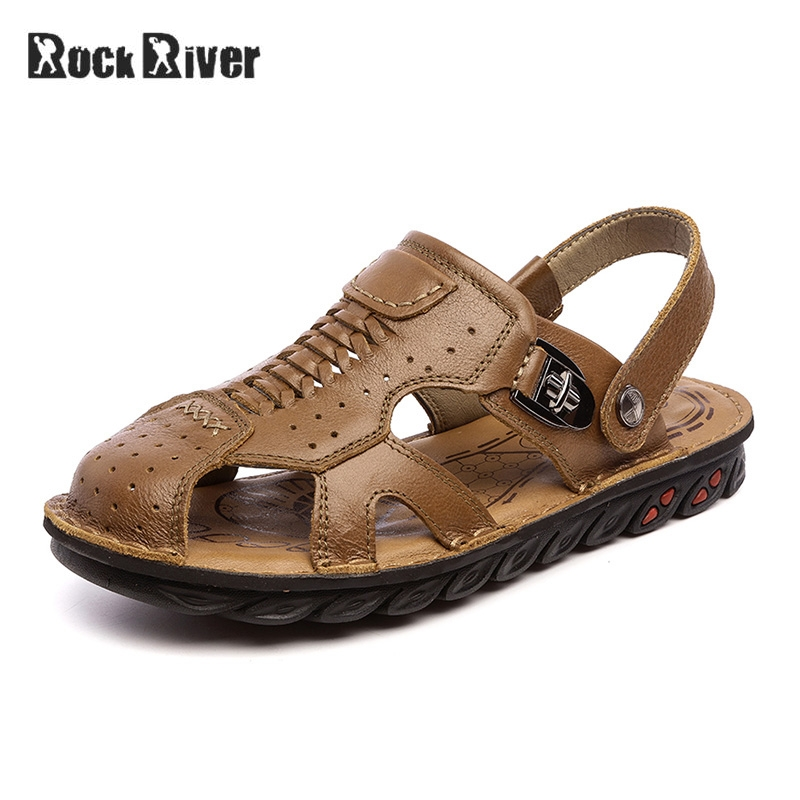 Genuine Leather Sandals Men 2018 Mens Sandals Summer Breathable Casual Beach Sandals Handmade Slip-on Rubber Sole High Quality