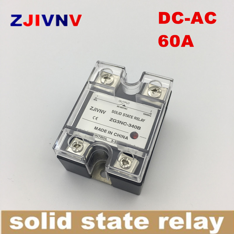 <font><b>SSR</b></font> high voltage single phase DC control AC Solid state relay 60a, input 3-32vdc, output 90~480vac, <font><b>SSR</b></font> <font><b>60DA</b></font> ZG3NC-360B image