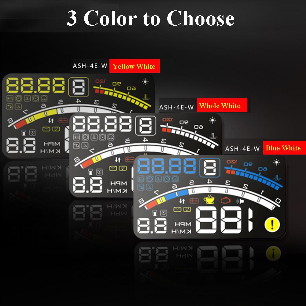 """Prix pour 4E 5.5 """"voiture HUD Head Up Display voiture OBD2 II EUOBD Survitesse Avertissement Système Projecteur Pare-Brise Auto Électronique Tension D'alarme"""