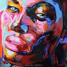 Palette knife painting portrait Face Oil Impasto figure on canvas Hand painted Francoise Nielly 12-15