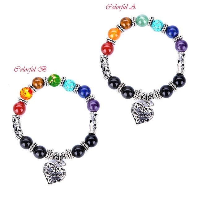New Design Femme Chakra Mixed Stone Bracelet Healing Pray Mala Heart Pendant Bracelets Men Buddha Beads