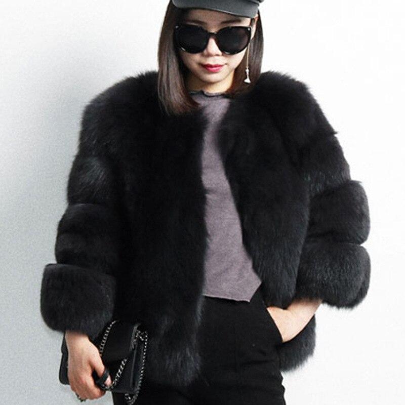 Nouveau mode 2019 Faux manteau de fourrure de renard femmes hiver moyen Long luxe fausse fourrure manteaux femme veste pardessus Mex vison manteau dames