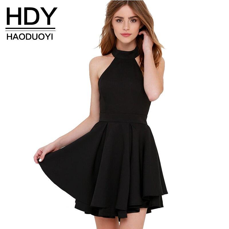 Hdy haoduoyi 2017 mujeres del verano a-line dress moda de nueva halter backless