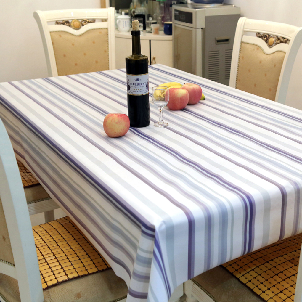 Brand New Peva Table Cloth Stripe Printed Table Covers Waterproof
