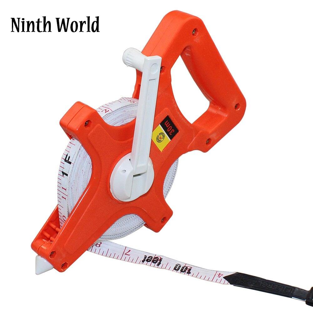 1PC 30M/100Ft 50M/165Ft 100M/330Ft Meter Open Reel Fiberglass Tape Measure inch metric scale impact resistant ABS Measure Tools