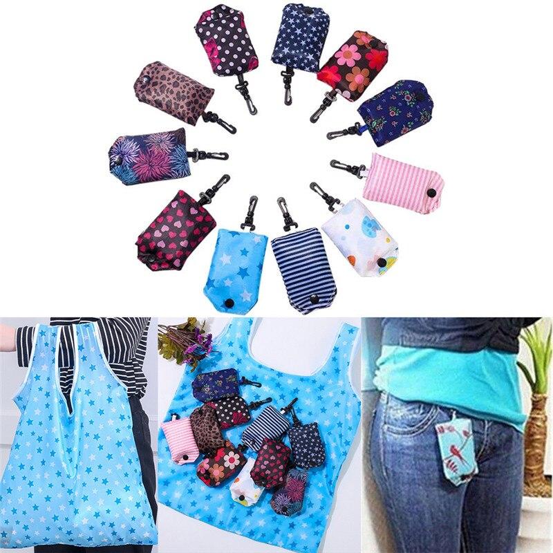 1Pc Foldable Storage Bag Grocery Storage Handbag  Foldable Key Chain Tote Pouch Reusable Shopping Hanging Bag Handbag